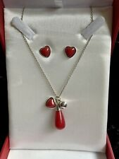 Jou Jou Sterling Silver & Red Enamel Heart & Droplet Necklace & Earrings In Box