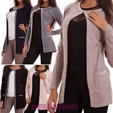 Giacca donna pull giacchetto maniche lunghe maglione perline sexy nuovo YM-2894