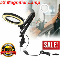 5X Swing Clamp Mount Magnifier Desk Table Clamp Lamp Light Magnifying Glass Lens