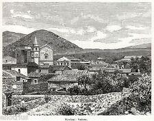 Nicolosi: Panorama. Etna. Catania. Sicilia. Stampa Antica + Passepartout. 1901