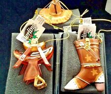 3 Western Saddle Cowboy Hat & Boot Blown glass Ornament New Sterling