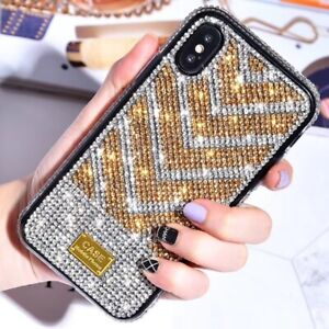 MOBILE PHONE CASE IPHONE 6/6S/7/8/11/MAX/PLUS/PRO/X/XR/XS GOLD/SILVER RHINESTONE