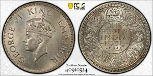 PCGS MS-63+ INDIA SILVER 1 RUPEE 1938 (B) SW-9.11 DOT