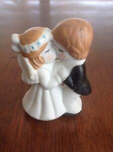 Vintage Bride Groom Kissing Couple Porcelain Rosy Cheeks Blue Dots Cake Topper
