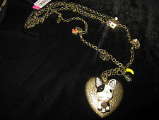 BETSEY JOHNSON PARIS FRENCH BULL DOG LOCKET WITH CHARMS LONG DOUBLE NECKLACE