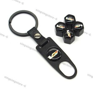 Car Keychain For Cadillac Styling V Logo Wheel Tire Valve Caps Air Valve Covers