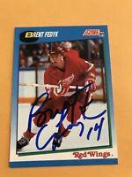 Brent Fedyk Signed 91/92 Score Detroit Redwings Card # 412