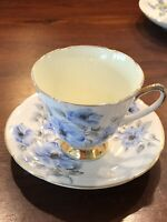 OLD ROYAL - BONE CHINA Blue Floral With Yellow Teacup And Saucer Stamped- 3924.