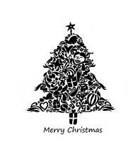 Timbres de noël arbre de Noël cachet occasions étiquettes cadeau