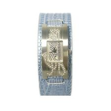 NEW GUESS BLUE PYTHON LEATHER CUFF,BRACELET BAND WITH CRYSTALS WATCH-W85070L3