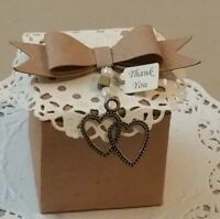 Rustic,vintage, wedding favor boxes hearts charm. Pk- 20, 50,100