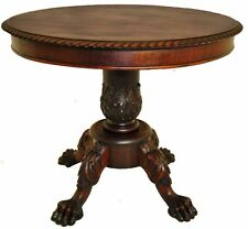 American 1870's Second Empire Carved Mahogany Center Table, Original Finish