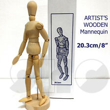 """Artist's mannequin 8"""" Traditional Wooden Male Lay Figure -with moveable joints"""