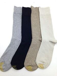 $40 Gold Toe Mens 4 Pair Pack Crew Dress Socks Brown Black Gray Cotton Shoe 6-12