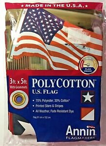 Annin 3'x5' US American Flag w/ Grommets Polycotton USA NEW