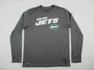 New York Jets Nike Long Sleeve Shirt Men's Gray Dri-Fit Used Multiple Sizes