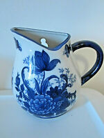 Vintage blue and white ceramic floral pitcher wall pocket vase planter