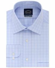 $145 EAGLE SHIRTMAKERS Men REGULAR-FIT BLUE WHITE CHECK DRESS SHIRT 17 32/33 XL