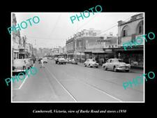 OLD 8x6 HISTORIC PHOTO OF CAMBERWELL VICTORIA VIEW OF BURKE RD & STORES 1950 1