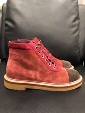 NIB Chanel 17K Burgundy Red Brown Suede CC Lace Up Combat Short Ankle Boots 41