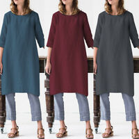 ZANZEA UK Womens Ladies Linen Dress O Neck Half Sleeve Baggy Long Shirt Dresses