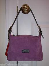 NWT Dooney & Bourke Suede Leather Mini Sac Hobo Shoulder Bag Purple CU016 EX