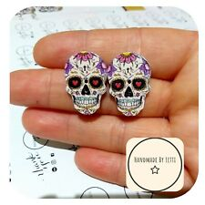 Recycled Button � Halloween 25mm red eye Sugar Skull Stud Earrings 💜 Wooden 💀