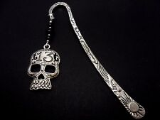 A TIBETAN SILVER  SKULL  CHARM & BLACK GLASS BEAD  BOOKMARK. NEW.