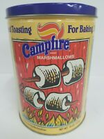Vtg Marshmallow Campfire Tin Can First In Series Metal Storage Container Limited