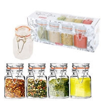 8 Spice Jars Mini Herb Airtight Kitchen Storage Set Containers Canisters Glass