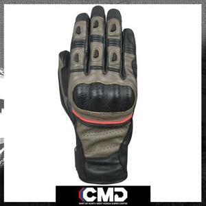 Oxford Hawker Mens Summer Adventure Leather Gloves Brown/Black