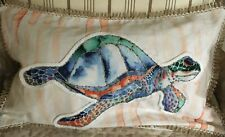 Secret Celebrity Pillow Sham 14X24 Sea Turtle Applique Coastal Nautical