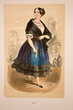 Manola, mujer fácil, España, grabado con acuarela, de aprox. 1860