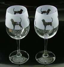 More details for bloodhound dog wine glasses classic tulip shape..boxed