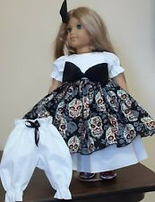 DOLL CLOTHES AND ACCESSORIES FITS AMERICAN GIRL DOLL'S. SKELTON PRINT,