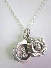 "Our Lady of Guadalupe Locket Style Rose Slide Medal Pendant Necklace 20"" Chain"