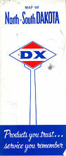 Vintage D-X Road Map for NORTH and SOUTH DAKOTA early 1960's