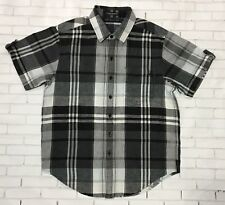 SEAN JOHN Boys Button Front Shirt Sz S Plaid Casual Short Sleeves Front Pocket