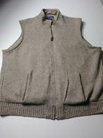 Pendleton Mens Full Zip Sweater Vest Size XL Beige 100% Shetland Wool