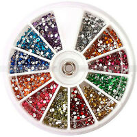 720Stk Nail Art 12 Farben Straßsteine 1,5mm Dekoration Acryl System Platte Set