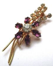 broche plaqué or ancien bijou vintage cristaux Swarovski améthyste  149