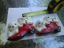 """Vintage Christmas Ceramic Puppy Dog shoes  marked """"Nicole"""", & """"Elizabeth"""""""