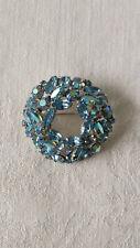 Vintage Weiss Blue Aurora Borealis Crystal Brooch