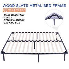 Cal King Size Wood Slats Metal Bed Frame Platform Bedroom Mattress Foundation
