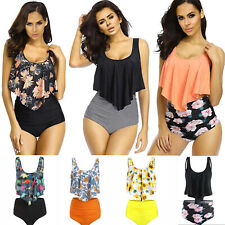Womens Tankini Bikini Set High Waist Floral Swimsuit Bathing Suit Swimwear S-3XL