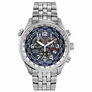 Citizen Eco-Drive Chronograph Silver-Tone Stainless Steel Men's Blue AT0361-57L