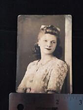 1940's Photo Woman Flower Dress Bow In Hair Glamour Shot