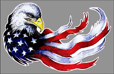 "Patriotic Eagle American Flag 9"" Premium Vinyl Bumper Sticker Decal USA"