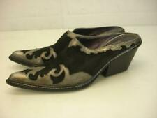 Women's sz 8.5 N Donald J Pliner Western Couture Mule Black Pewter Boots Slip-On