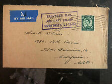 1954 England Prestwick Crash Cover to Usa Salvaged Mail Damaged